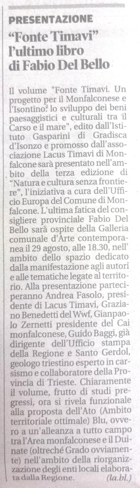 associazione culturale Lacus Timavi; Fonte Timavi; Fabio Del Bello