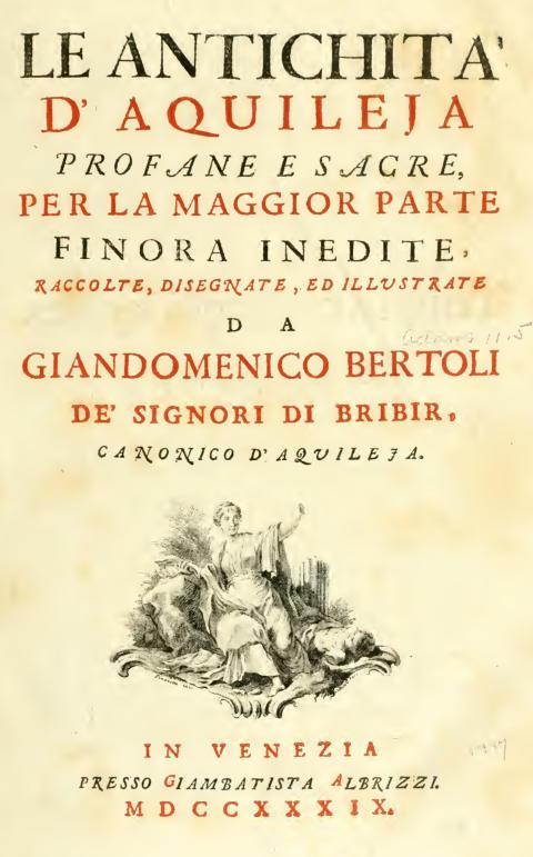 frontespizio del libro Le antichità di Aquileia di Giandomenico Bertoli